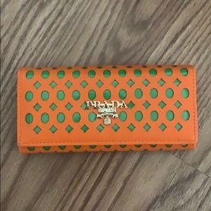 Prada Milano orange and green wallet